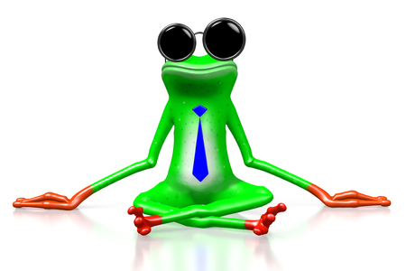 3D cartoon frog with tie sitting on a ground - great for topics like business, making money etc.
