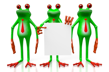 3D cartoon frogs - presentation concept. Stock Photo