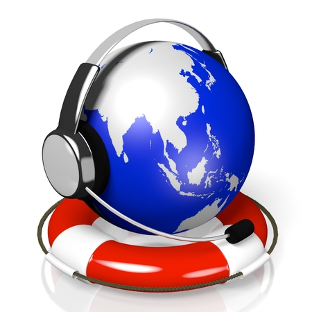 3D global call center - headset and rescue wheel concept Stock Photo