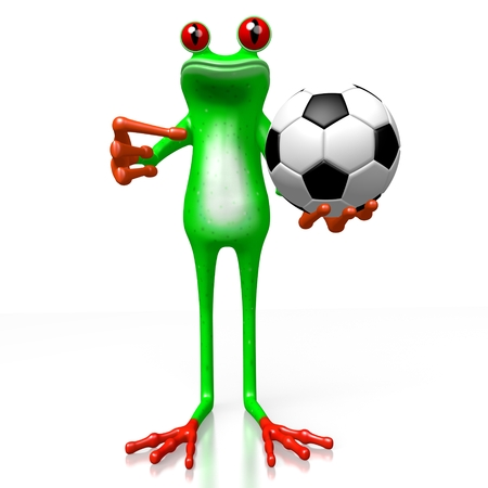 3D cartoon frog and a soccer ball - great for topics like sport, match etc. Stock Photo