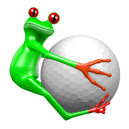 3D cartoon frog with a golf ball.