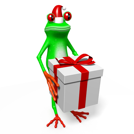 3D cartoon frog and a gift box - Chrismas concept. Stock Photo