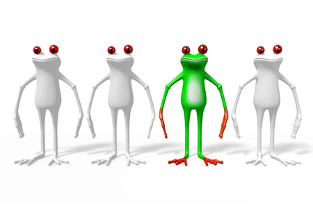 3D cartoon frogs - out of the crowd concept.