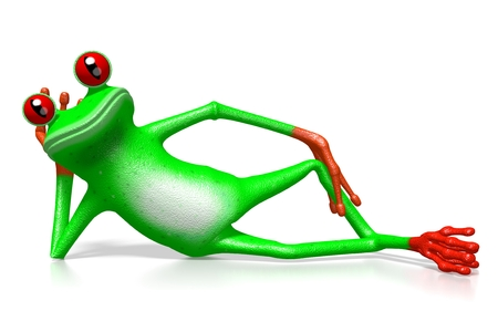 3D cartoon frog laying on white background.