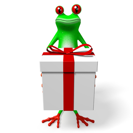 3D frog and gift box - great for topics like birthday, surprise etc. Stock Photo