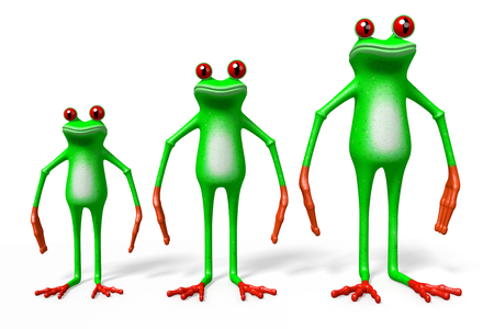 3D cartoon frogs on white background - size concept.
