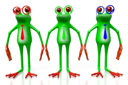 3D cartoon frogs wearing ties in RGB - red, green, blue colors.