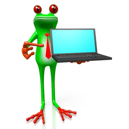 3D cartoon frog with a laptop - great for topics like computers, mobility, wirelless Internet etc.