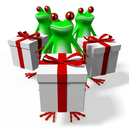3D frogs and gift boxes - great for topics like birthday, surprise etc.