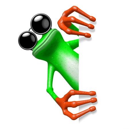 3D cartoon frog with sunglasses behind a corner.