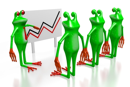 3D cartoon frogs and presentation with a chart - great for topics like growth, financial success, prosperity etc.