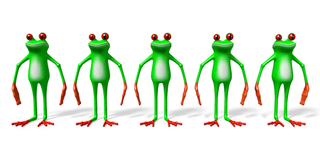 3D cartoon frogs on white background. Stock Photo