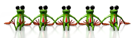 3D cartoon frogs with sunglasses on white background.