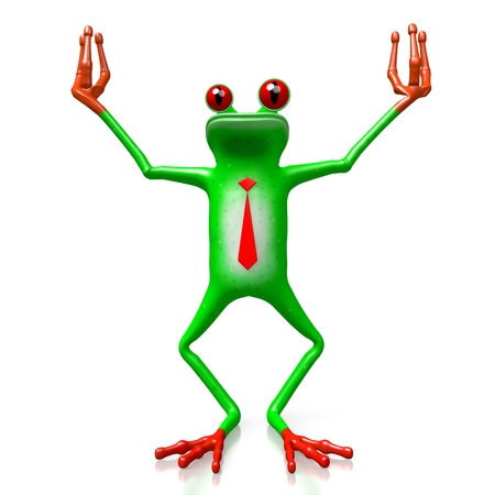 3D cartoon businessman frog with a tie.