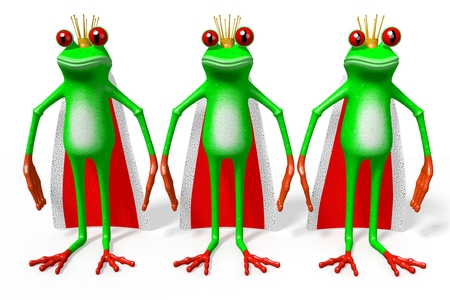 3D cartoon frogs with crowns - monarchy concept.