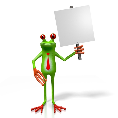 3D cartoon frog and a signpost - great for topics like advertisement, presentation etc.