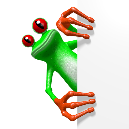 3D cartoon frog behind a corner.