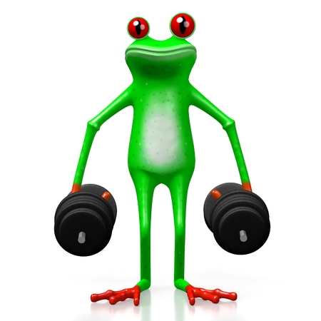 3D cartoon frog with weights - great fot topics like strength, weightlifting, power, excercising etc.