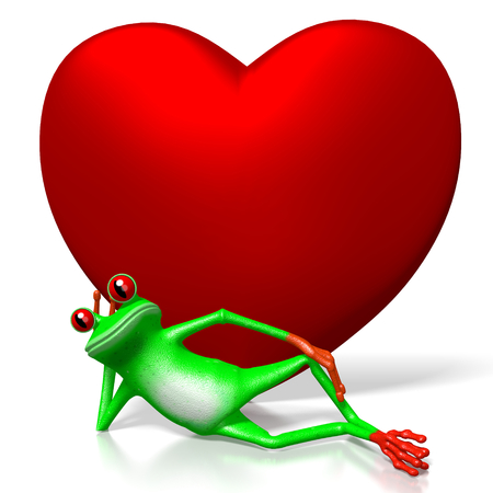 3D cartoon frog and heart shape - great for topics like Valentines Day, love etc.