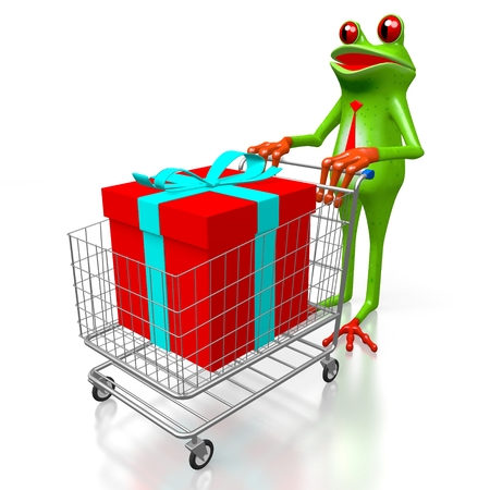 3D cartoon frog, shopping cart and a gift box - great for topics like birthday, Christmas etc. Stock Photo