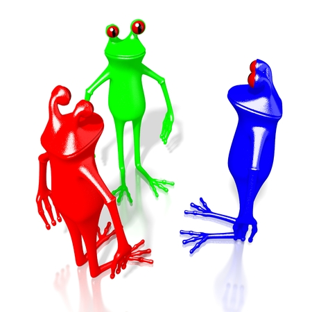 3D cartoon frogs in RGB - red, green, blue colors. Stock Photo