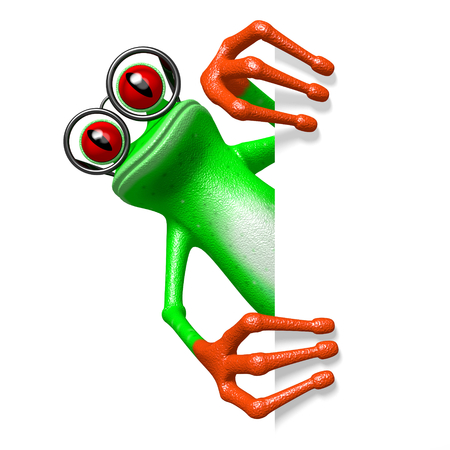 3D cartoon frog with glasses behind a corner. Stock Photo