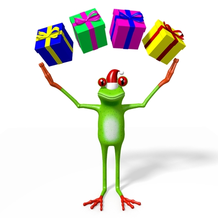 3D cartoon frog and gift boxes - Christmas concept.