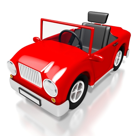 3D red toy car