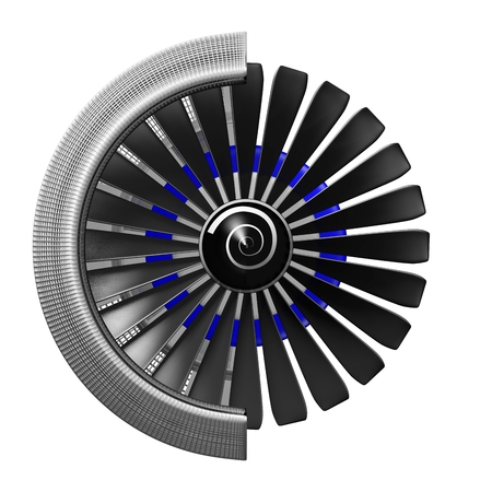3D jet engine Stock Photo