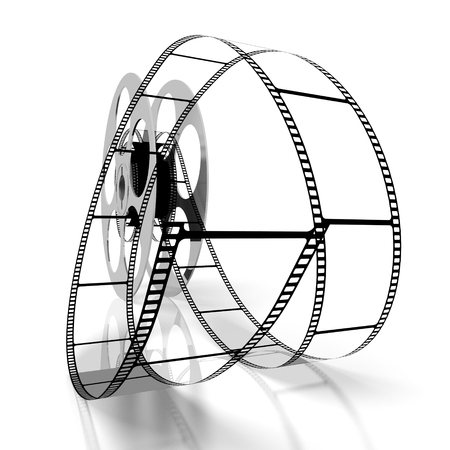 3D movie tape and reel Stock Photo