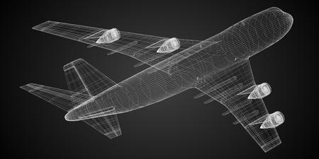 3D passenger jet plane - wireframe