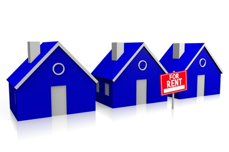 apartment for rent: 3D house for rent concept Stock Photo