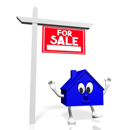 opportunity sign: 3D house for sale concept
