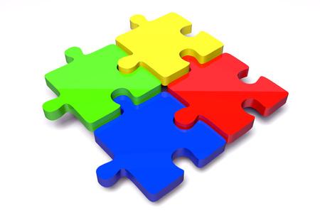 3 D パズル - チームワークの概念