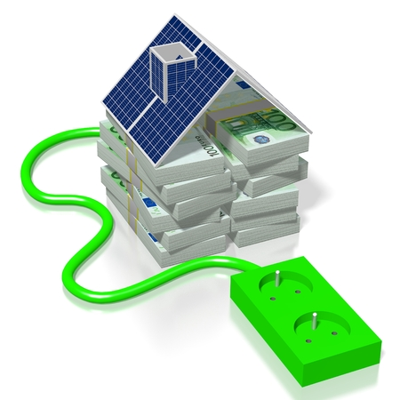 Money, solar panels concept