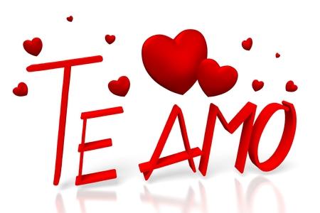 3D Valentines card - Te amo (Italiaans) Stockfoto