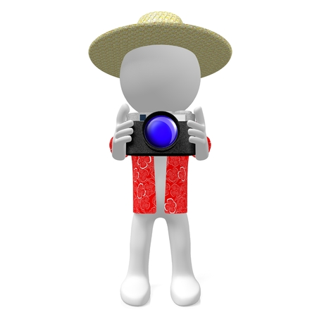 Tourist 3D mit Kamera in der Hand Standard-Bild - 80805889
