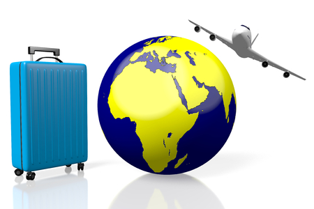 3D - Check in luggage to board on a plane to travel around the world Stock Photo