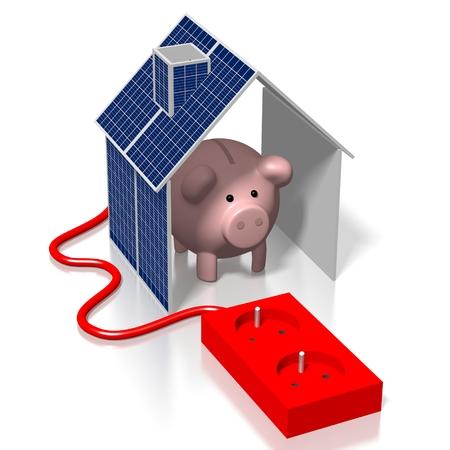 House, solar panels concept