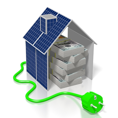 Money, solar panels concept