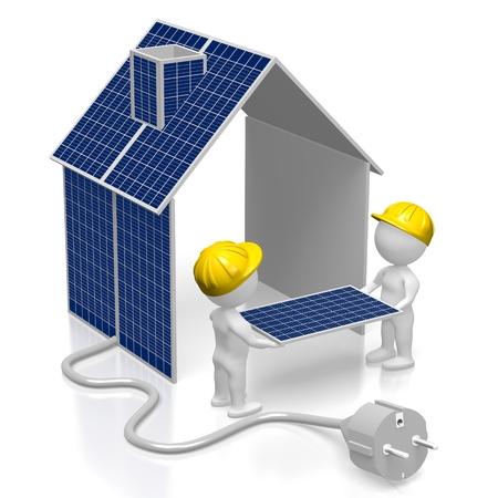 Montaggio pannelli solari Archivio Fotografico - 79989605
