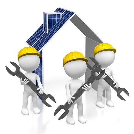 Concetto di pannelli solari 3D Archivio Fotografico - 80672583