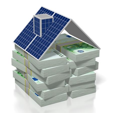 Denaro, concetto di pannelli solari Archivio Fotografico - 79990400
