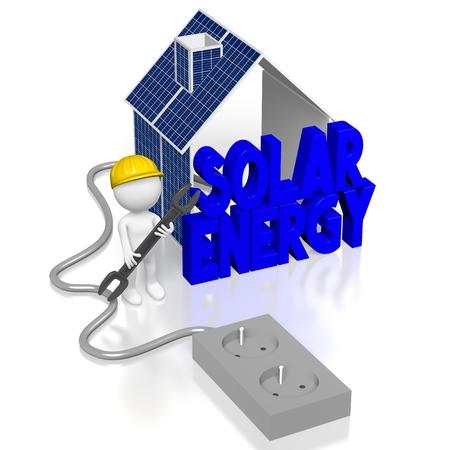 Montaggio pannelli solari Archivio Fotografico - 80042768