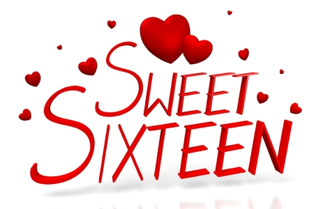3D Sweet sixteen concept Standard-Bild