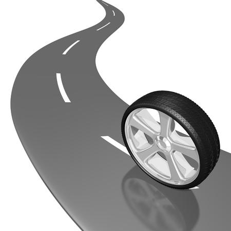 car tire: 3D wheel, road Stock Photo