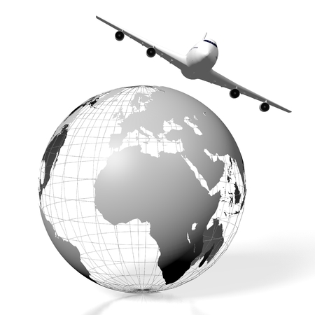 globe grid: 3D plane traveling concept
