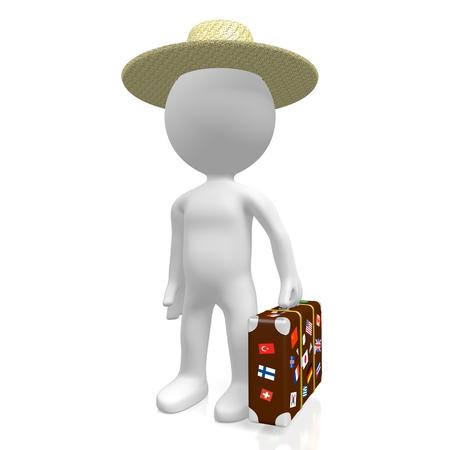 Viajero 3D con maleta