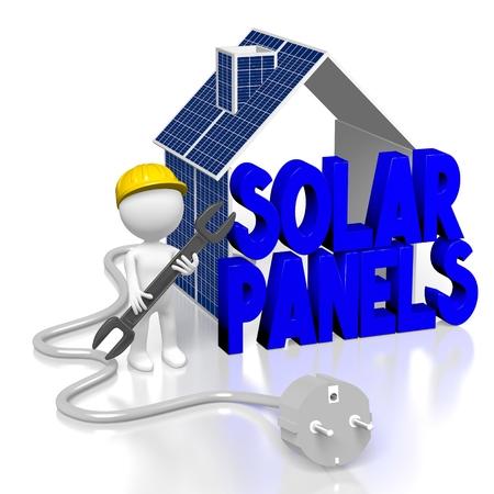 Concetto di pannelli solari 3D Archivio Fotografico - 80245961