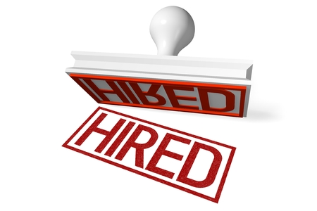 hired: 3D rubber stamp - hired